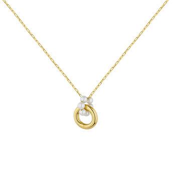 Collier argent plaqué or motif perles, J04727-02-WP, hi-res