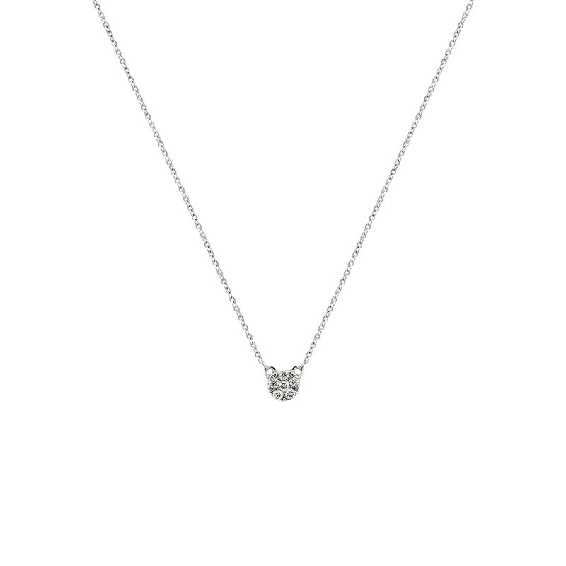 White gold diamonds rosette necklace 0.03 ct, J01358-01, hi-res