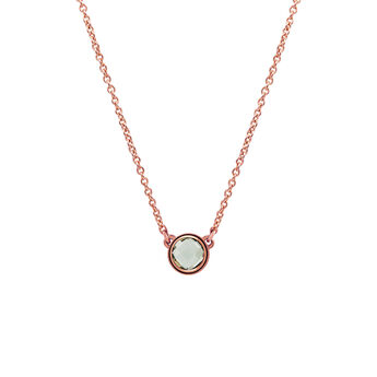 Rose gold plated chaton round quartz necklace, J00966-03-GQ, hi-res