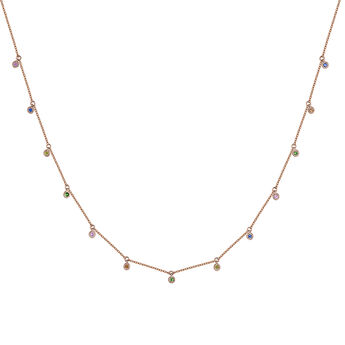 Rose gold multicolor sapphire and tsavorite motif necklace, J04341-03-MULTI, hi-res