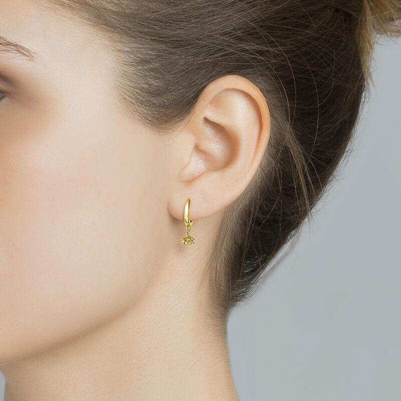 Gold plated lotus flower hoop pendant earrings, J04597-02, hi-res