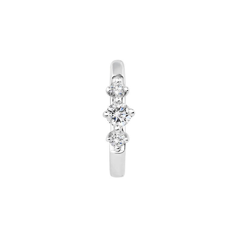 Pendiente aro tres diamantes 0,041 ctoro blanco, J03929-01-H, hi-res