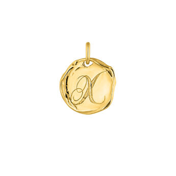 Colgante medalla inicial X plata recubierta oro, J04641-02-X, hi-res