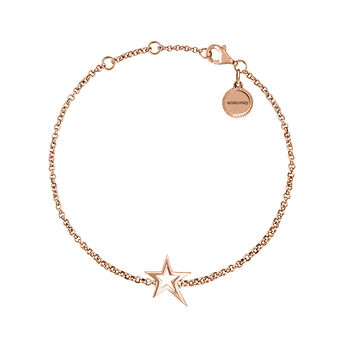 Pulsera estrella hueca asimétrica plata recubierta oro rosa, J03792-03, hi-res