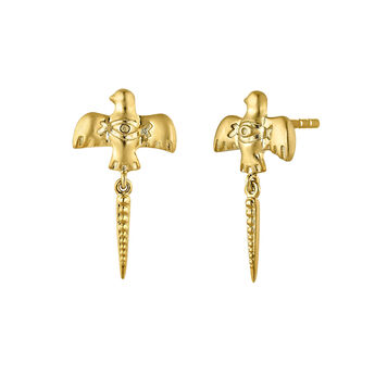 Gold plated bird earrings, J04558-02, hi-res