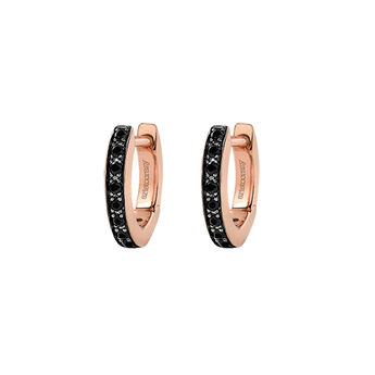 Rose gold mini hoop earrings spinels, J03288-03-BSN, hi-res