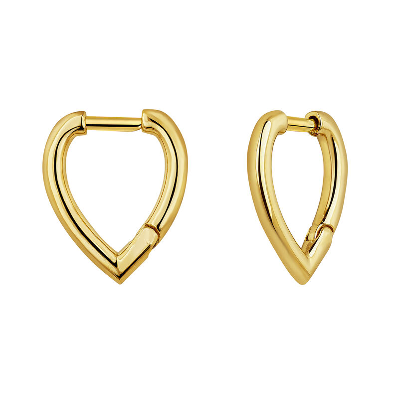 Drop gold plated hoop earrings, J04647-02, hi-res