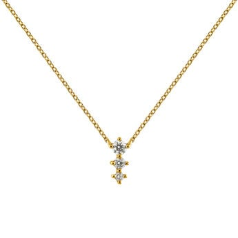 Gold diamonds triple necklace, J03365-02, hi-res