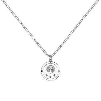 Collier monnaie étoile argent, J03589-01, hi-res