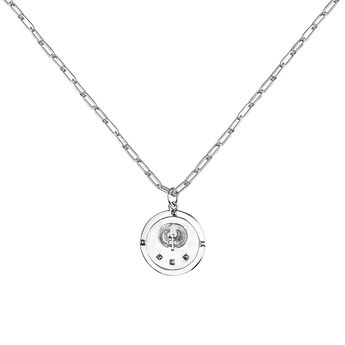 Silver star coin pendant, J03589-01, hi-res