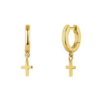 Gold plated silver cross hoop earrings, J04867-02, hi-res