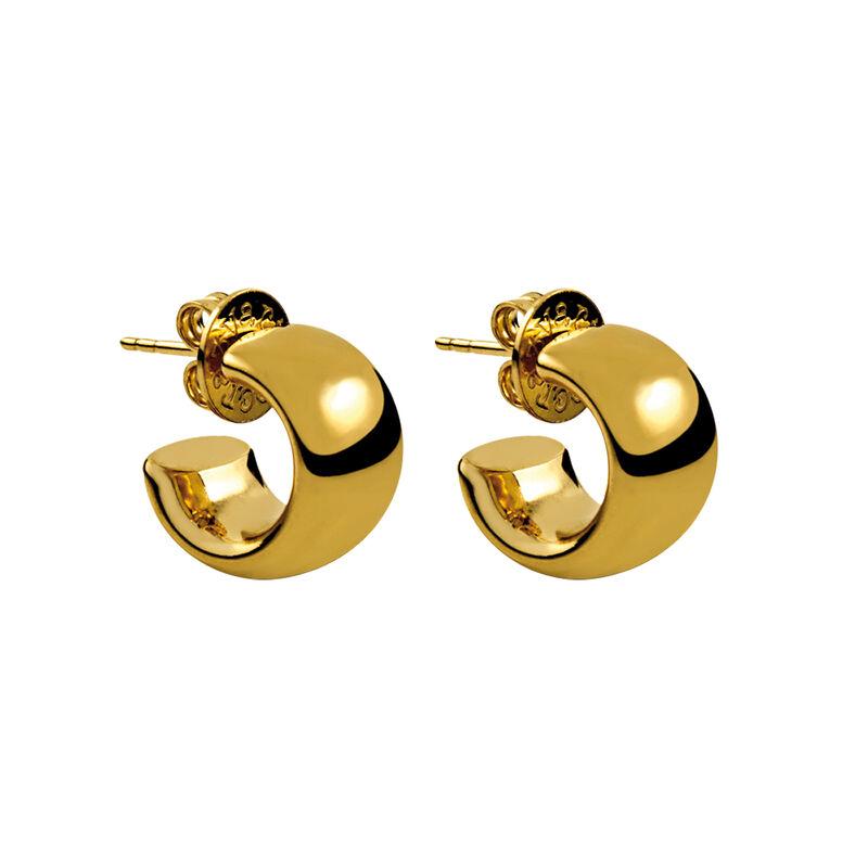 Mini gold plated smooth hoop earrings, J00643-02, hi-res