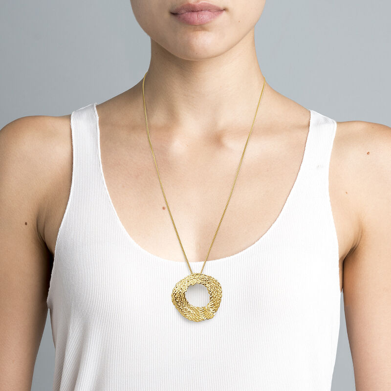 Gold plated geometric wicker circle necklace , J04420-02, hi-res