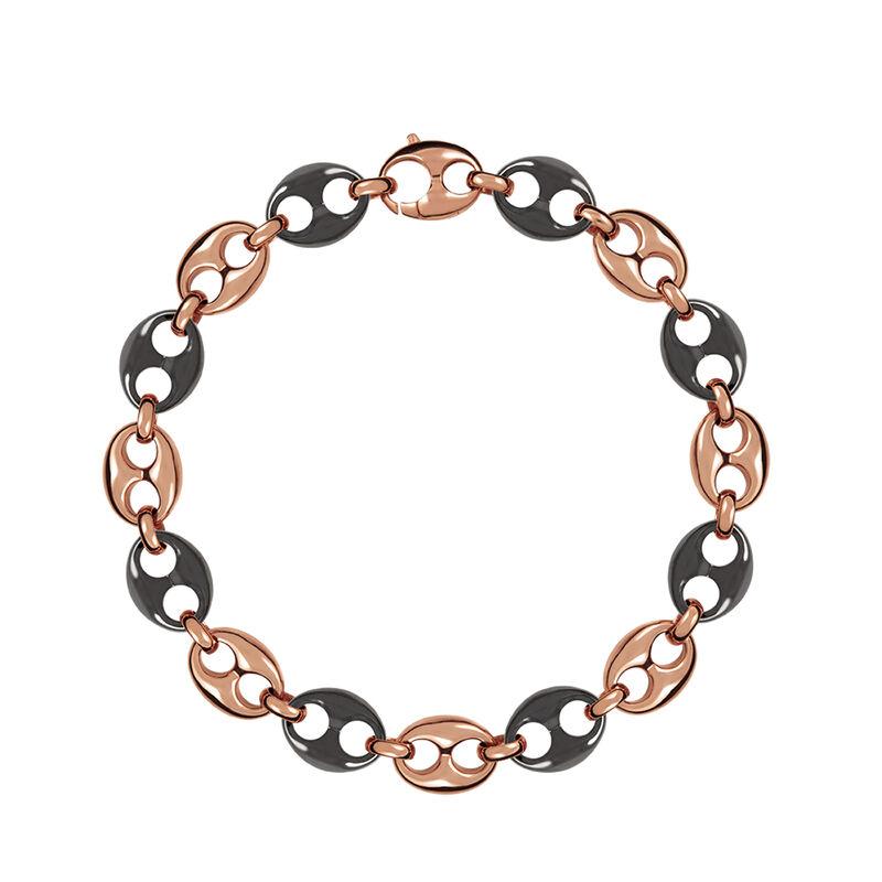 Collar calabrote cerámica y plata recubierta oro rosa, J01341-03-CER, hi-res