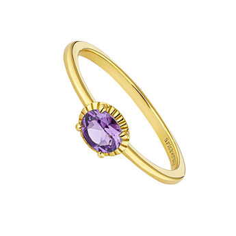 Gold plated amethyst center ring, J04663-02-DAM, hi-res