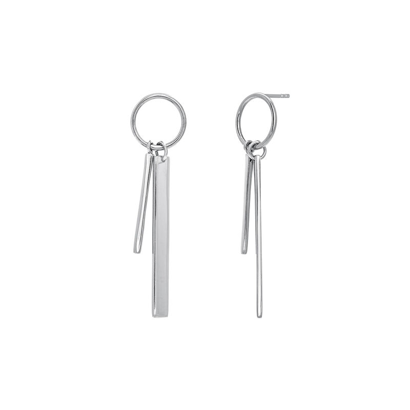 Silver double hoop earrings with bar, J03659-01, hi-res