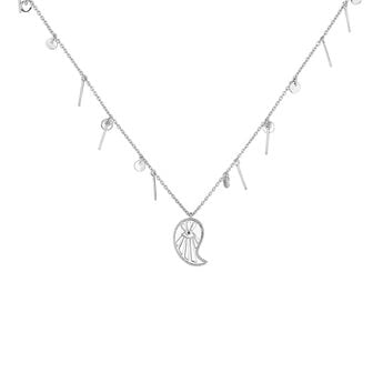 Silver cashmere pendants necklace with spinels, J04139-01-BSN, hi-res