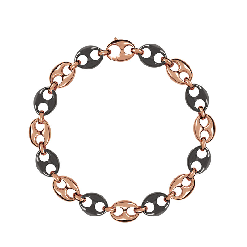 Rose gold plated ceramic calabrote necklace, J01341-03-CER, hi-res