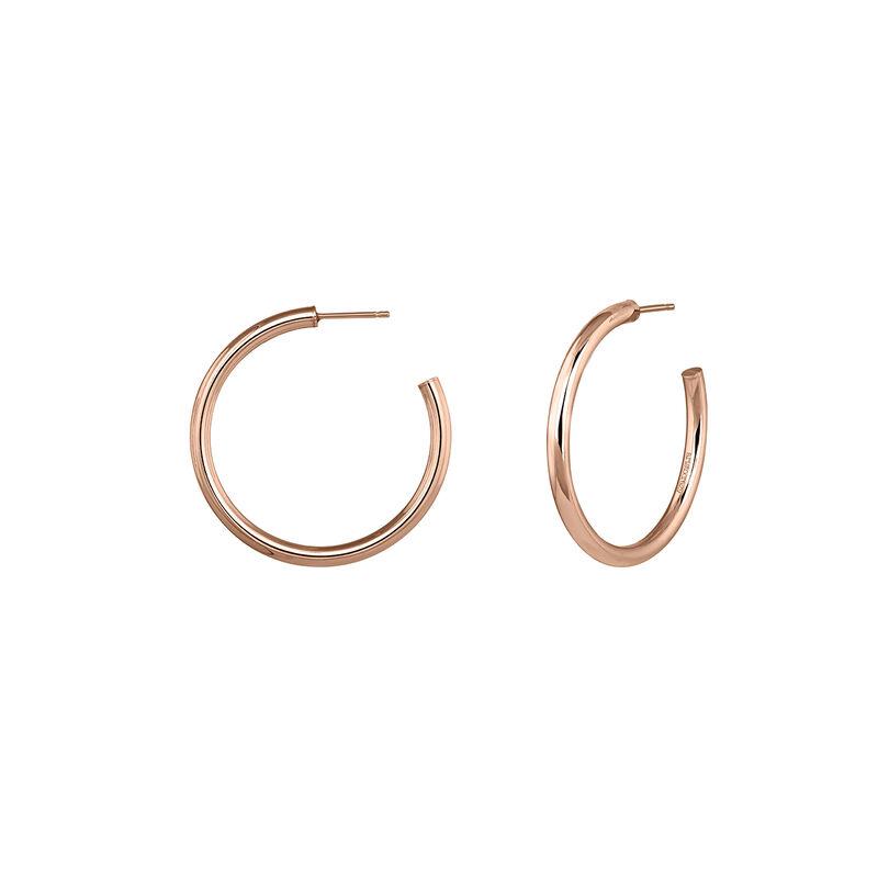Pendientes de aro mediano plata recubierta oro rosa, J04192-03, hi-res