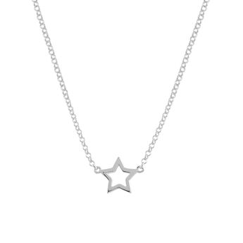 Silver hollow star necklace, J00659-01, hi-res