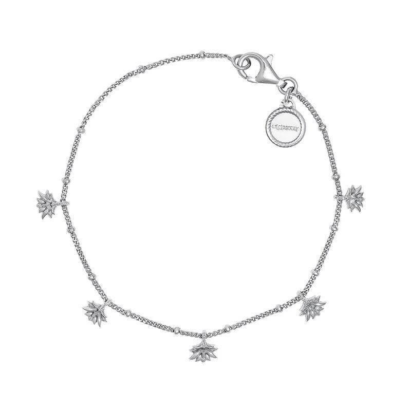 Pulsera motivos colgantes flor loto plata, J04594-01, hi-res