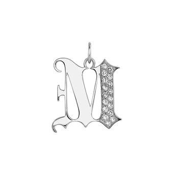 Gothic letter M pendant silver topaz, J04015-01-WT-M, hi-res