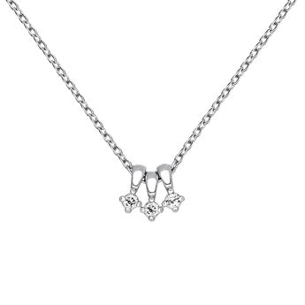 Silver necklace with white topaz, J03695-01-WT, hi-res