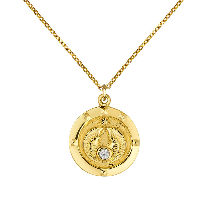 Gold coin number 7 pendant, J03588-02-WT, hi-res