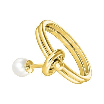 Gold pearl ring, J04022-02-WP, hi-res