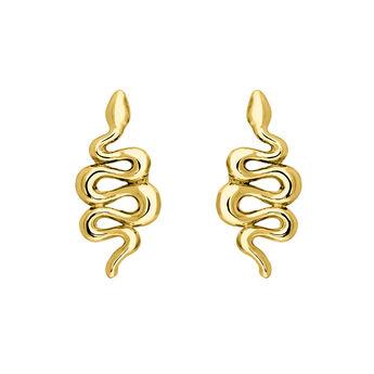 Boucles d'oreilles serpent argent plaqué or, J04010-02, hi-res