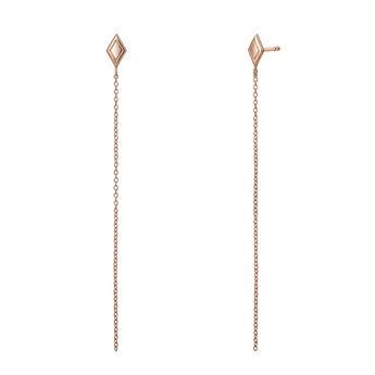 Rose gold rhombus chain earrings, J03623-03, hi-res