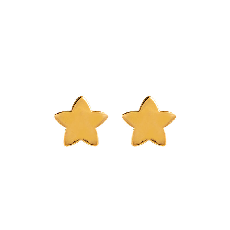 Gold plated star earrings, J01086-02-NEW, hi-res