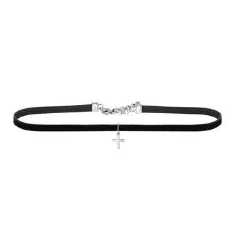 Silver cross choker, J00653-01-CH, hi-res