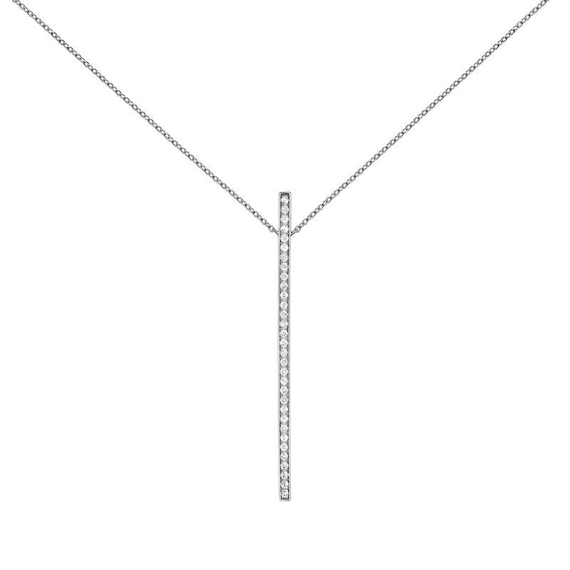 Silver pendant necklace with topaz, J04035-01-WT, hi-res