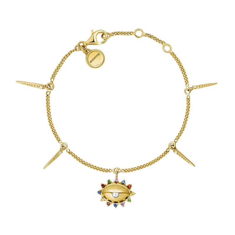 Gold plated silver eye patterns white bracelet, J04409-02-WT-MULTI, hi-res