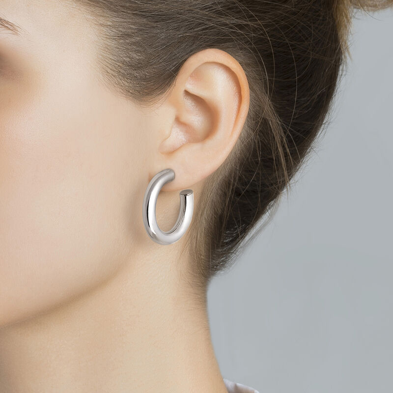 Silver thick smooth hoop earrings, J01611-01, hi-res
