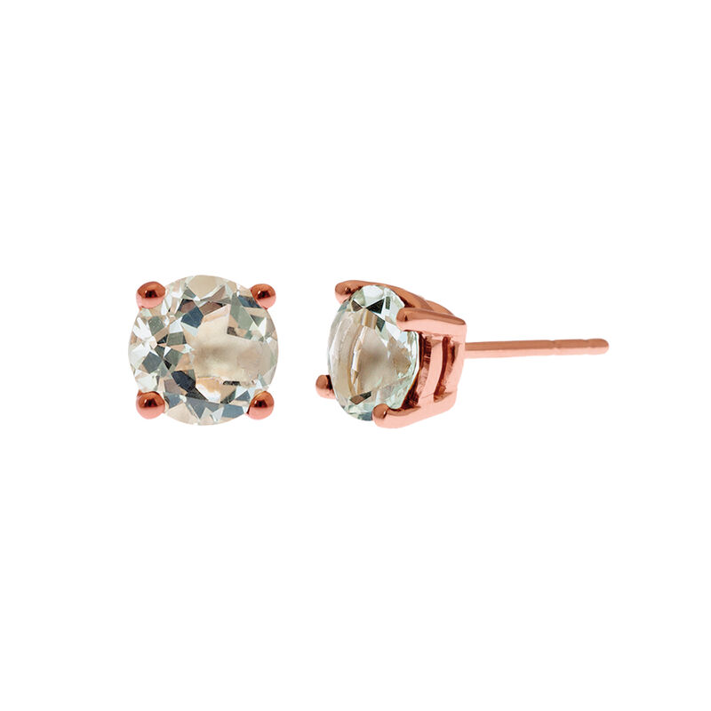 Rose gold plated green quartz prong earrings, J01774-03-GQ, hi-res