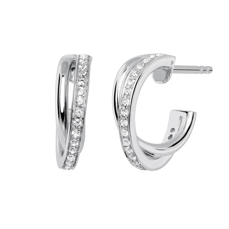 Small silver combined hoop earrings, J03663-01-WT, hi-res
