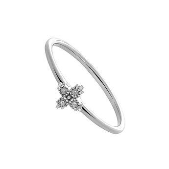 Anillo cuatro diamantes oro blanco 0,032 ct, J03390-01, hi-res