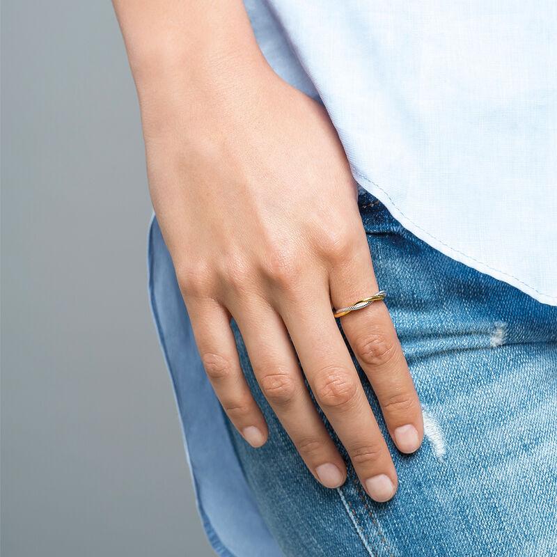 Anillo trenzado liso y gallón plata, J02074-05, hi-res