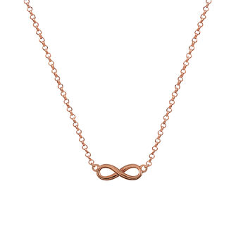 Rose gold infinity necklace, J01248-03, hi-res