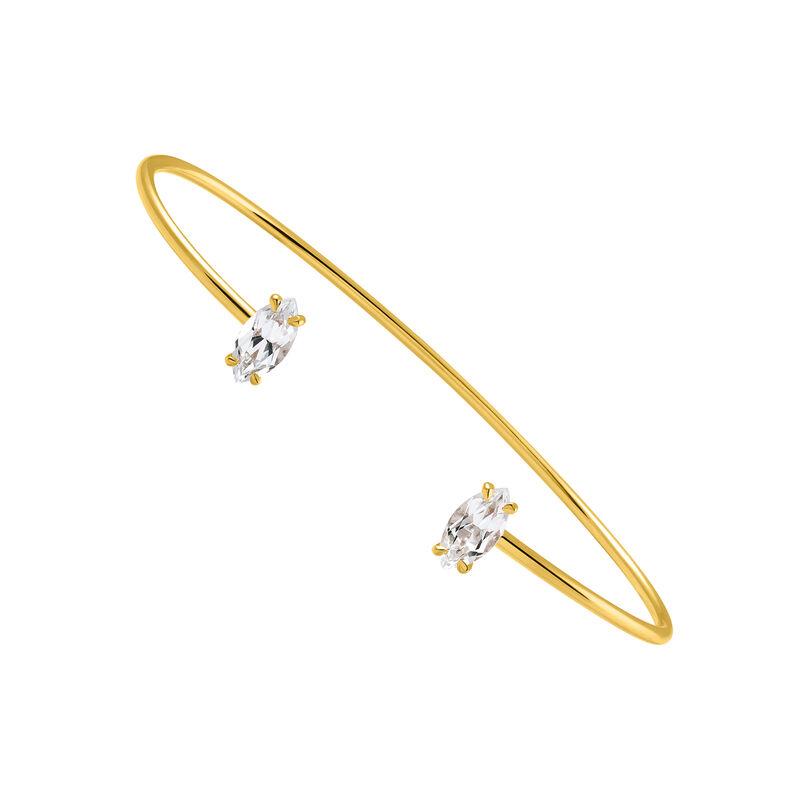 Bracelet jonc argent plaqué or topaze, J03259-02-WT, hi-res