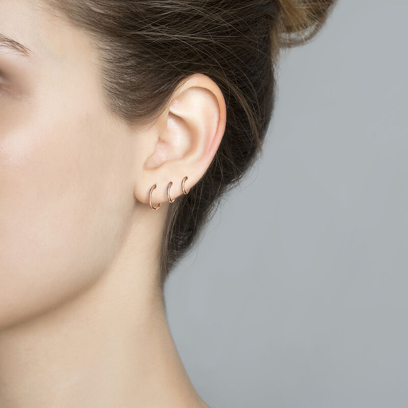 Large rose gold hoop earring piercing, J03844-03-H, hi-res