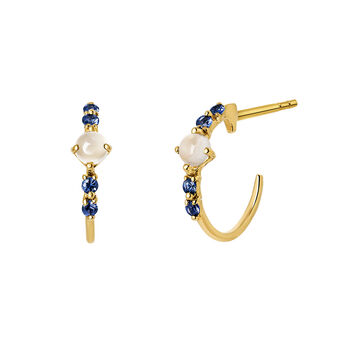 Gold moonstone hoop earrings, J03553-02-WMS-BS, hi-res
