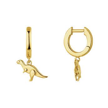 Gold coated silver dinosaur hoop earrings, J04868-02, hi-res