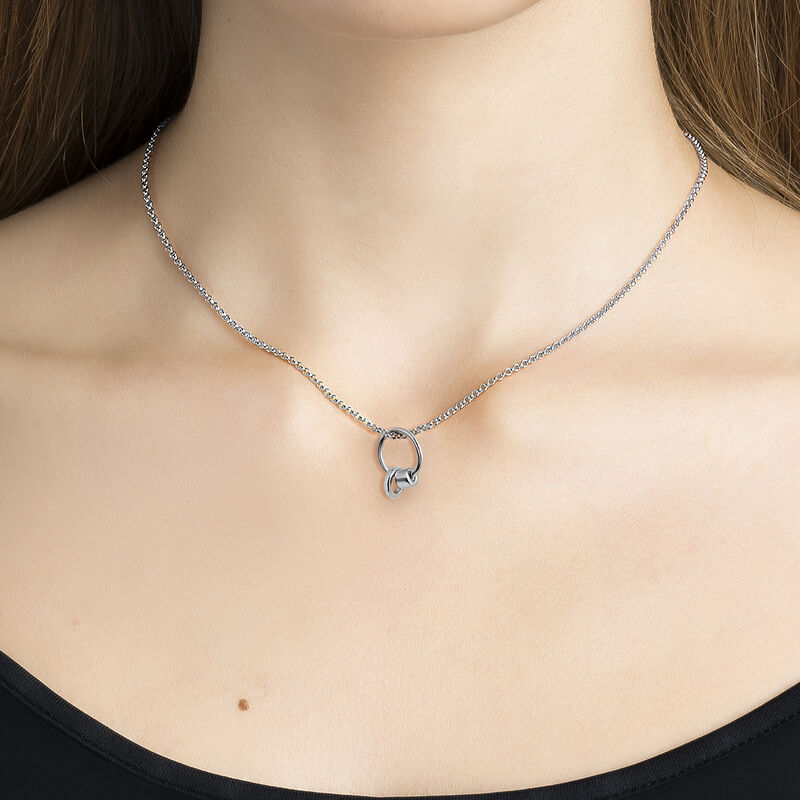 Silver lower hoop necklace, J03476-01, hi-res