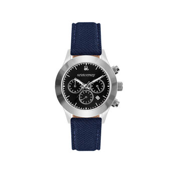 Soho watch blue strap black face., W29A-STSTBL-FABU, hi-res