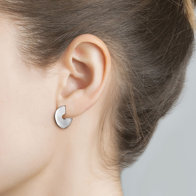 Small silver sculptural hoop earrings, J03503-01, hi-res