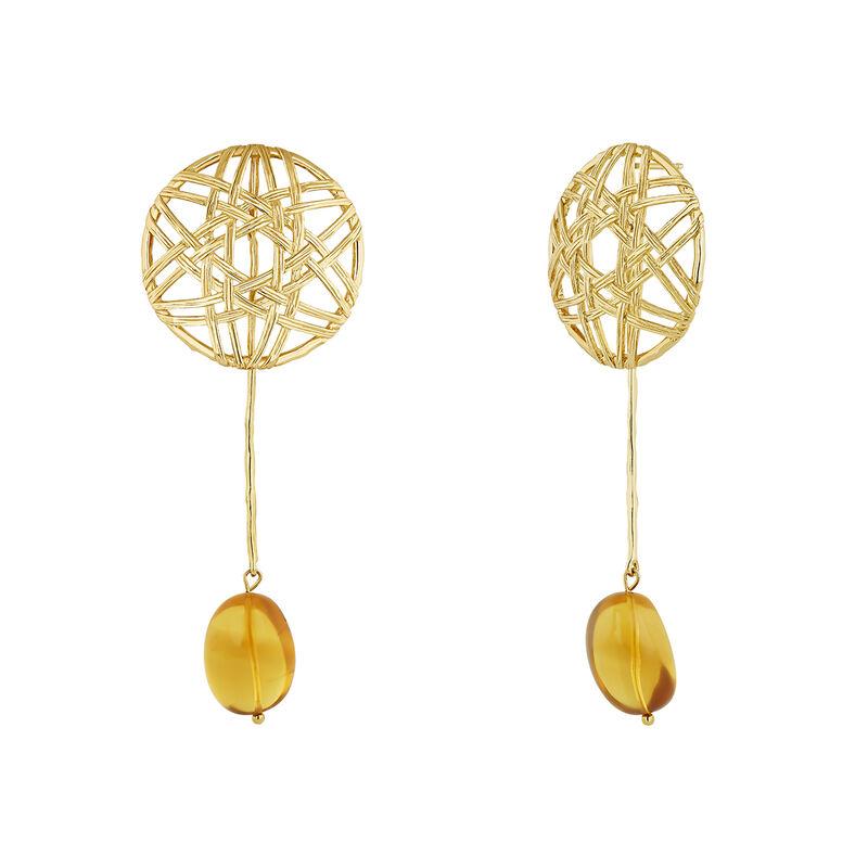 Boucles d'oreilles pendentif ambre en osier plaqué or, J04418-02-AMB, hi-res