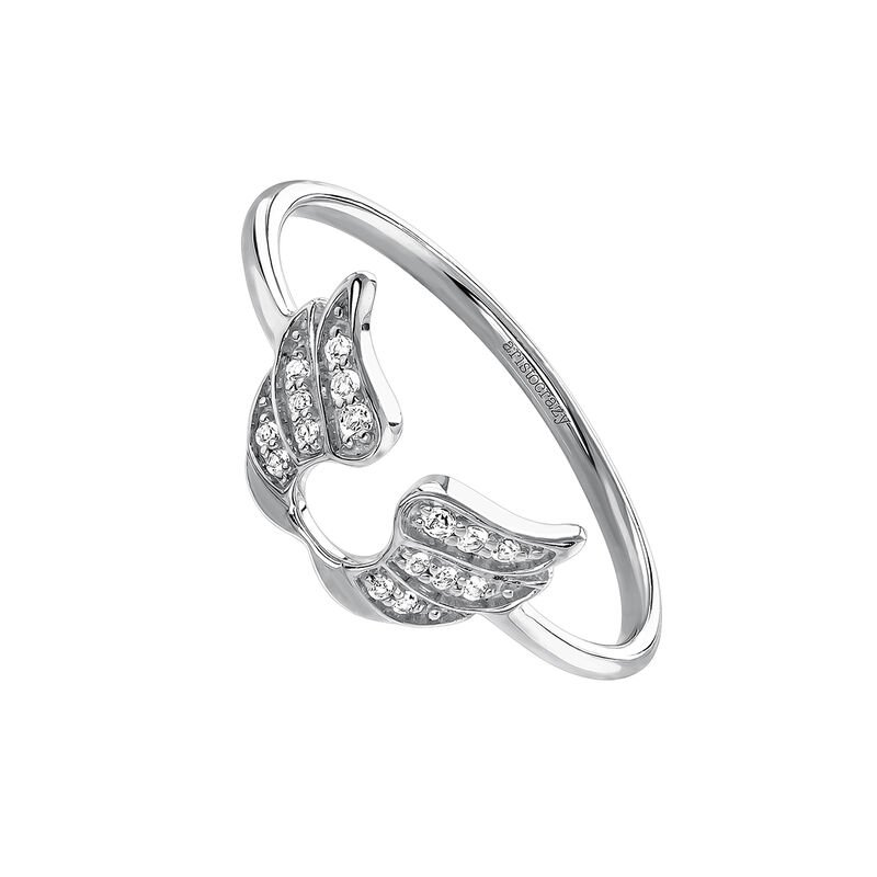 Silver lucky wings ring, J03829-01-WT, hi-res